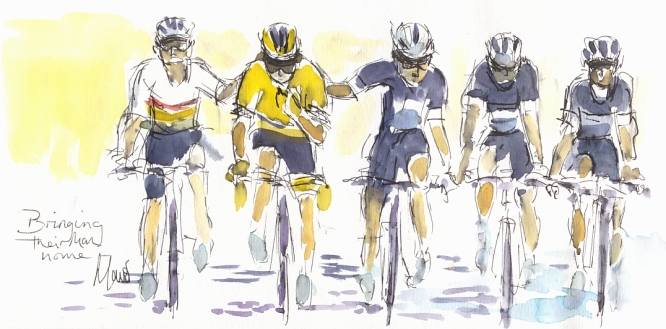 Cycling art, Tour de France, Watercolour painting Bringing their man home, by Maxine Dodd