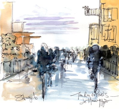 Cycling art, Tour de France, Watercolour painting The Rue de Paris, Le Havre, by Maxine Dodd