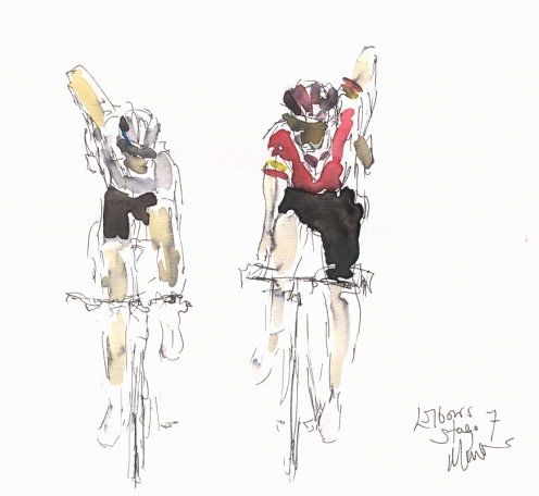 Cycling art, Tour de France, Watercolour painting Elbows! Stage 7 by Maxine Dodd