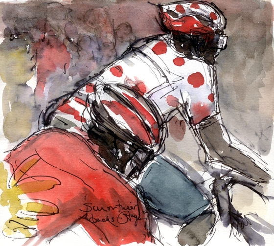 Cycling art, Tour de France, Watercolour painting Sun on their backs, Stage 7 by Maxine Dodd