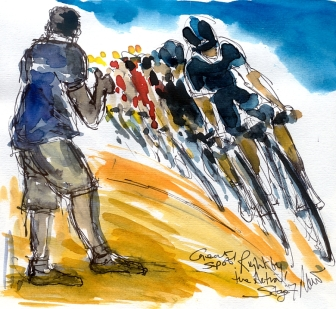 Cycling art, Tour de France, Watercolour painting Great spot! Right by the action! by Maxine Dodd