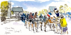 Cycling art, Tour de France, Watercolour painting Here they come! by Maxine Dodd