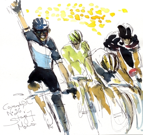 Cycling art, Tour de France, Watercolour painting Cavendish, No.26! by Maxine Dodd