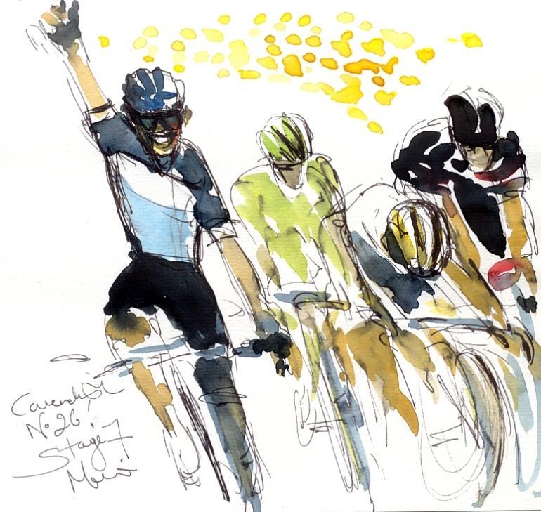 Cycling art, Tour de France, Watercolour painting Cavendish, No.26! by Maxine Dodd