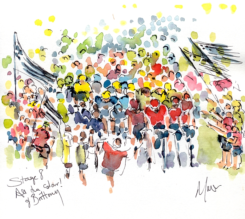 Cycling art, Tour de France, Watercolour painting SOLD - All the colours of Brittany, by Maxine Dodd, SOLD