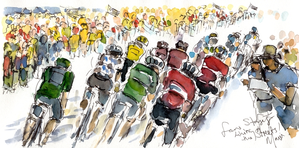 Cycling art, Tour de France, Watercolour painting Fans line the streets, by Maxine Dodd