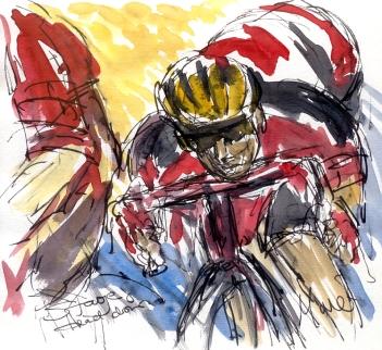 Cycling art, Tour de France, Watercolour painting Head down, by Maxine Dodd