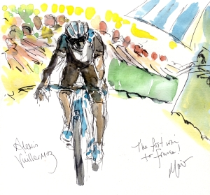 Cycling art, Tour de France, Watercolour painting Alexis Vuillermoz, First win for France, by Maxine Dodd