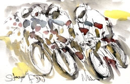 Cycling art, Tour de France, Watercolour painting FDJ, by Maxine Dodd