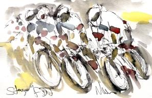 Cycling art, Tour de France, Watercolour painting FDJ, by Maxine Dodd