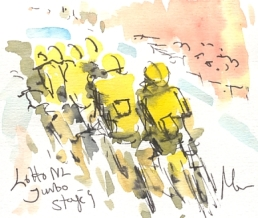 Cycling art, Tour de France, Watercolour painting Lotto NL Jumbo, by Maxine Dodd