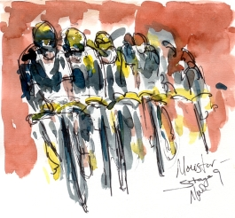 Cycling art, Tour de France, Watercolour painting Movistar, by Maxine Dodd