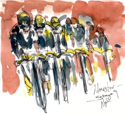 Cycling art, Tour de France, Watercolour painting Movistar, by Maxine Dodd