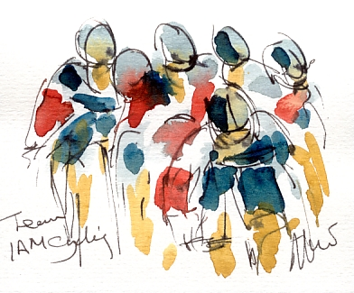 Cycling art, Tour de France, Watercolour painting IAM Cycling, by Maxine Dodd
