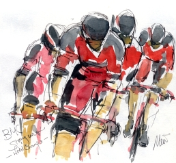 Cycling art, Tour de France, Watercolour painting BMC, World Champs, by Maxine Dodd