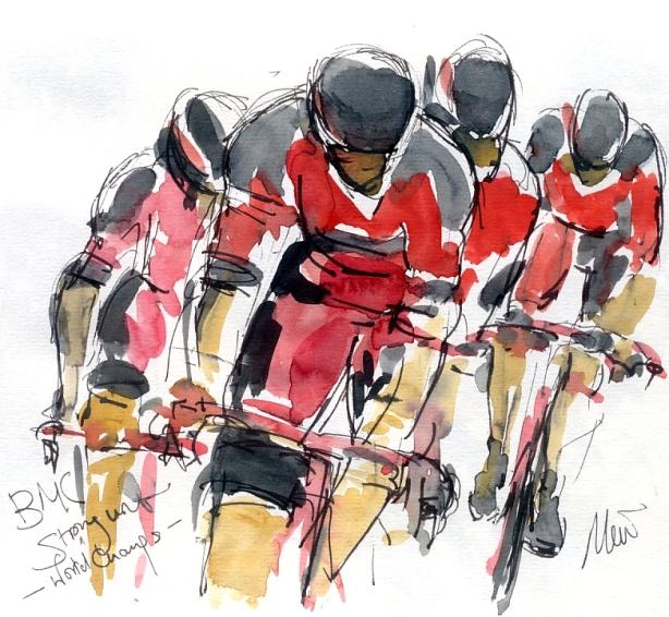 Cycling art, Tour de France, Watercolour painting BMC, World Champs, by Maxine Dodd
