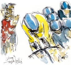 Cycling art, Tour de France, Watercolour painting Tight Unit, Team Sky, by Maxine Dodd