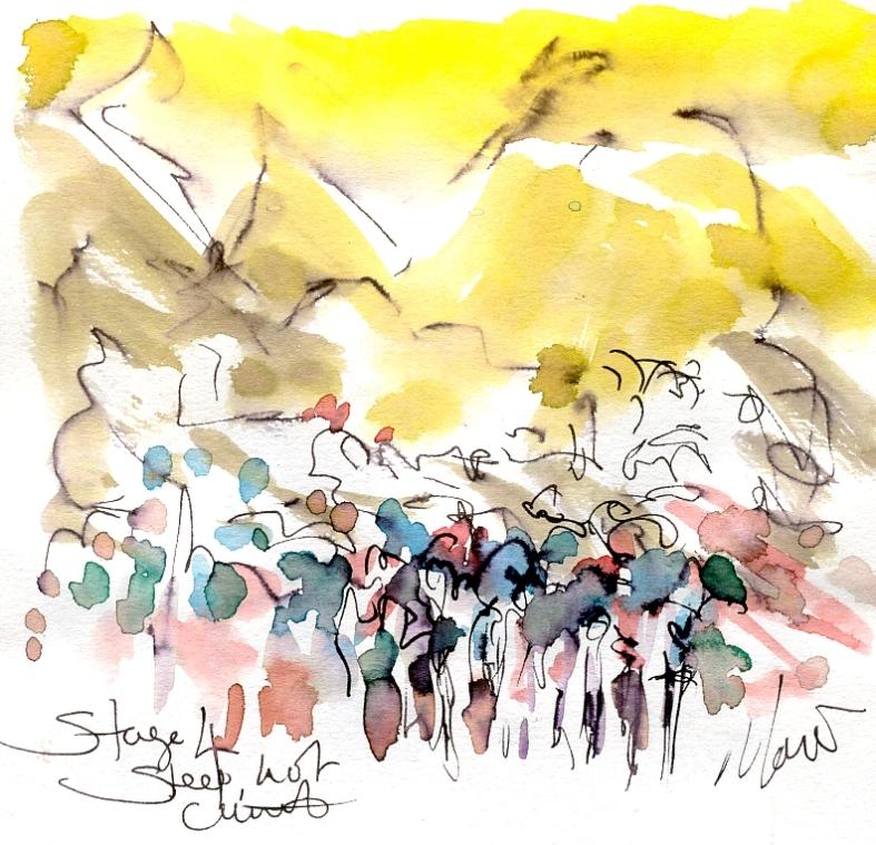 Steep, hot climb, Stage 4, by Maxine Dodd