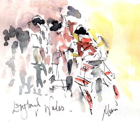 Rugby Art England vs Wales, by Maxine Dodd watercolour, pen and ink