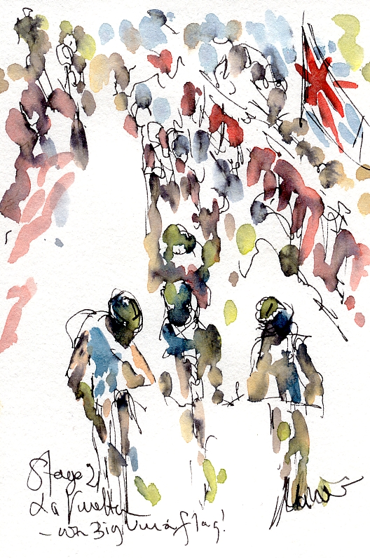 La Vuelta, Stage 21, with a big Union flag! by Maxine Dodd