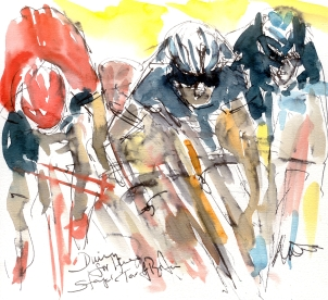 Cycling art, Tour of Britain, Diving for the line! Tour of Britain, Stage 1, by Maxine Dodd