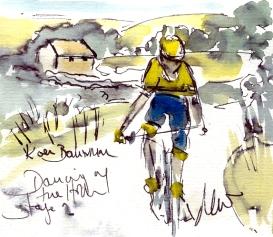 Cycling art, watercolour, pen & ink, Koen Bouwman, Tour of Britain, Maxine Dodd