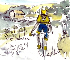 Cycling art, watercolour, pen & ink, Koen Bouwman, Tour of Britain, Maxine Dodd
