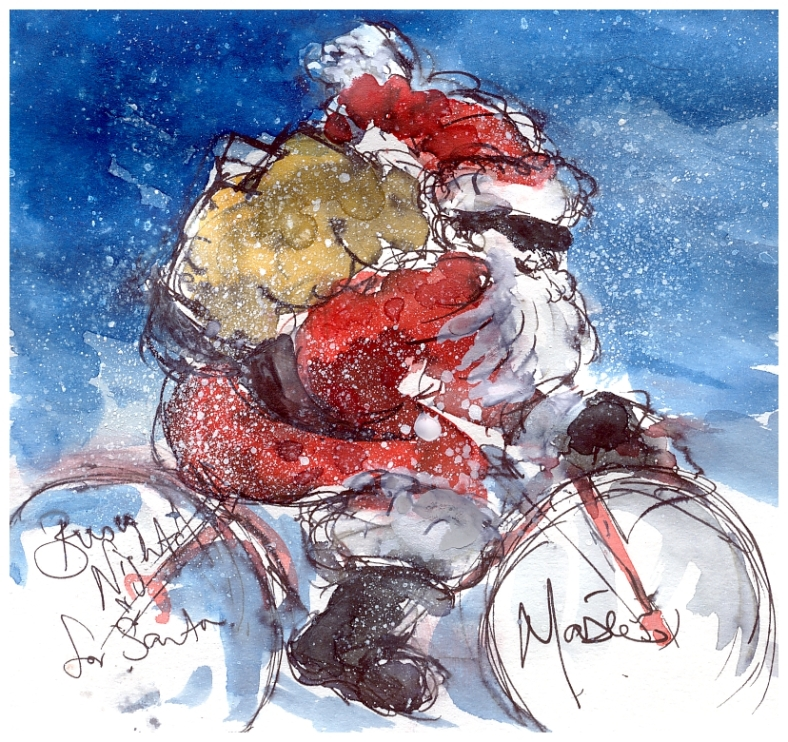 Cycling Santa Christmas Card Maxine Dodd