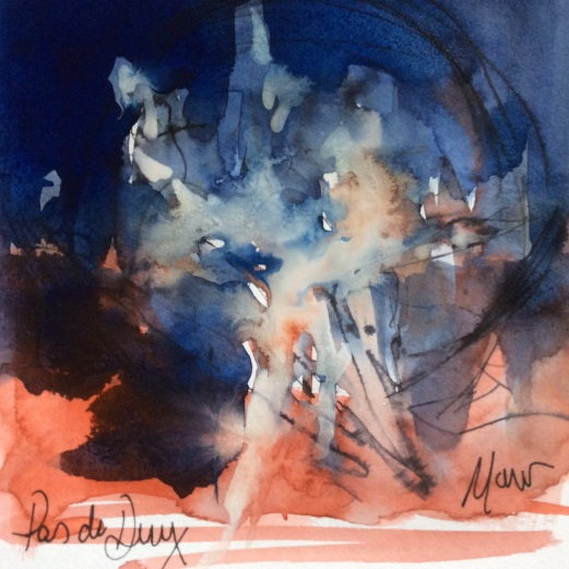 Ballet Art, Pas de Deux, Carmen, Watercolour, pen and ink, by Maxine