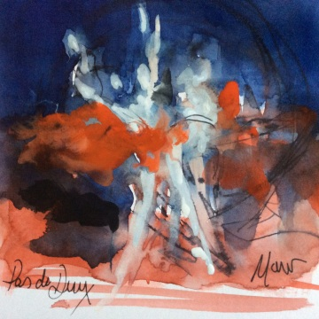 Ballet Art, Pas de deux, watercolour, pen and ink, by Maxine Dodd