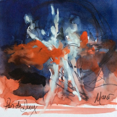 Ballet art, Watercolour and mixed media, 'pas de deux ' by Maxine Dodd