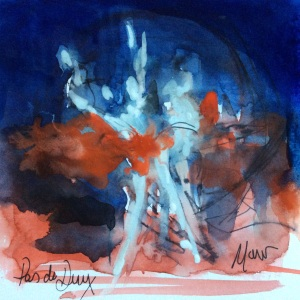 Ballet, art, Pas de deux by Maxine Dodd, watercolour, pen and ink with gouache