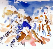 Six Nations: Scotland v England by Maxine Dodd, watercolour, pen and ink
