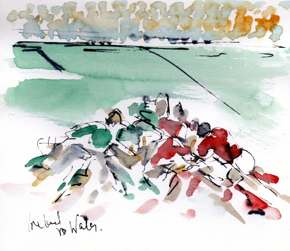 Six Nations: Ireland v Wales by Maxine Dodd, watercolour, pen and ink