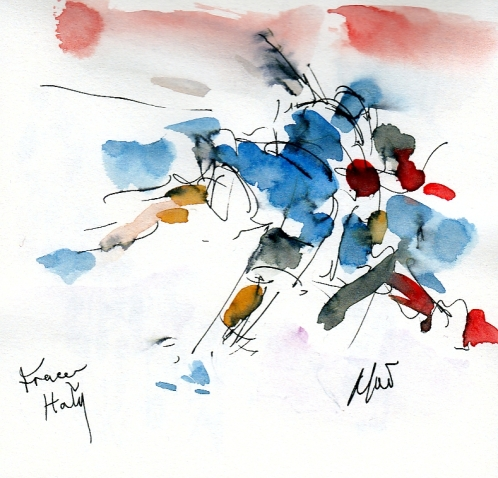 Six Nations: France v Italy by Maxine Dodd, watercolour, pen and ink