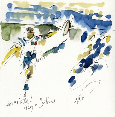 Rugby art, Six Nations: Lovely kick! Italy v Scotland by Maxiine Dodd, watercolour, pen and ink