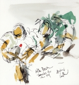 Rugby art, Six Nations: Mike Brown breaks for the try, England v Ireland by Maxine Dodd, watercolour, pen and ink
