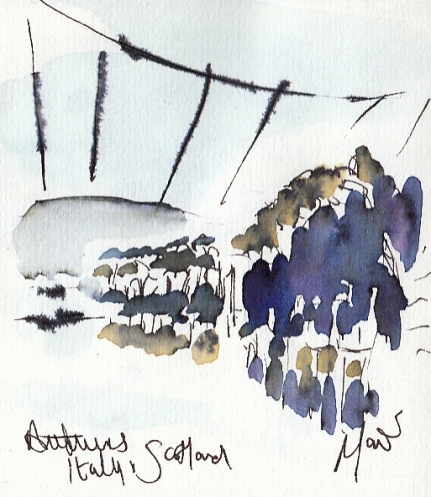 Rugby art, Six Nations: Anthems, Italy v Scotland by Maxiine Dodd, watercolour, pen and ink