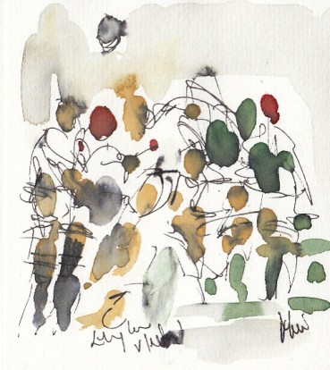 Rugby art, Six Nations: England v Ireland by Maxiine Dodd, watercolour, pen and ink