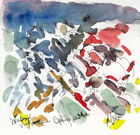 Rugby art, Six Nations: Opening moves, Wales v France by Maxiine Dodd, watercolour, pen and ink