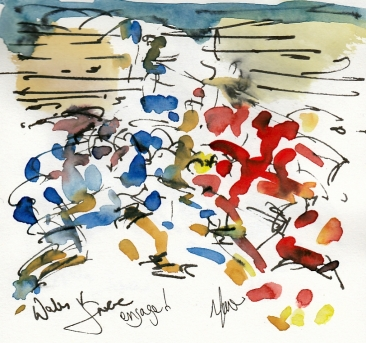 Rugby art, Six Nations: Engage! Wales v France by Maxiine Dodd, watercolour, pen and ink