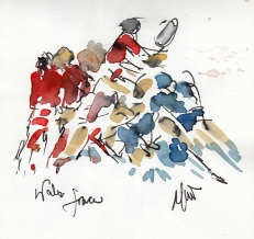 Rugby art, Six Nations: Wales v France by Maxiine Dodd, watercolour, pen and ink