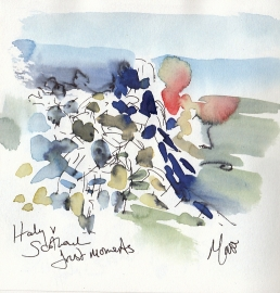 Rugby art, Six Nations: First moments, Italy v Scotland by Maxiine Dodd, watercolour, pen and ink