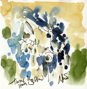 Rugby art, Six Nations: Throw in Italy v Scotland by Maxiine Dodd, watercolour, pen and ink