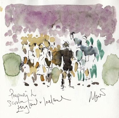 Rugby art, Six Nations: Preparing to scrum! England v Ireland by Maxiine Dodd, watercolour, pen and ink