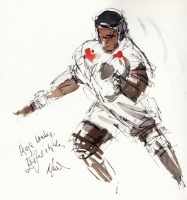 Rugby Art, Six Nations - England vs Wales, Itoje breaks by Maxine Dodd