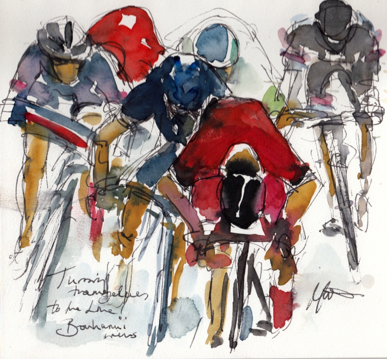 Cycling art, Throwing themselves to the line, Bouhanni wins!by Maxine Dodd, watercolour, pen and ink