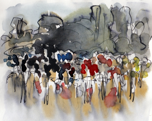 Cycling art, Catalunya skies by Maxine Dodd, watercolour, pen and ink