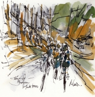 Cycling Art, Tall Trees, Tour of the Basque Country by Maxine Dodd, watercolour, pen and ink