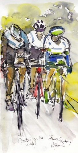 Cycling art, Chatting on the way, by Maxine Dodd